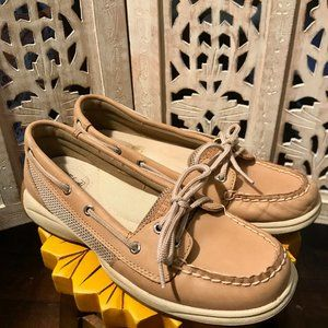 Sperry Tan Top-Side Laguna Linen Boat Shoes 7.5M